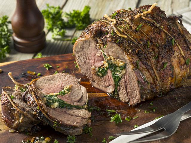 Post-roasted Stuffed Leg of Lamb