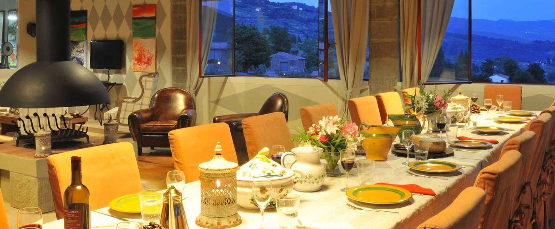 Villa di Petroio - Dining at dusk...perfect for sharing the days experiences.